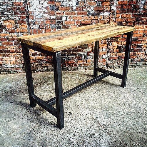 Beau Reclaimed Industrial 8 Seater Chic Tall Poseur Table Wood U0026 Metal Desk 338