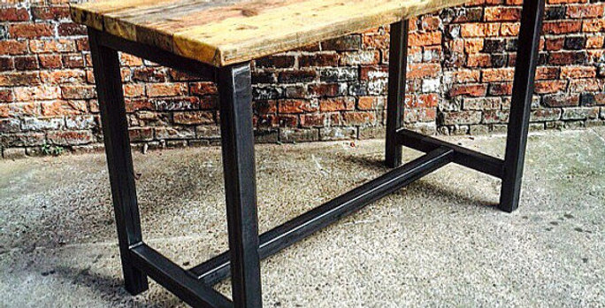 Reclaimed Industrial 8 Seater Chic Tall Poseur Table Wood & Metal Desk 338