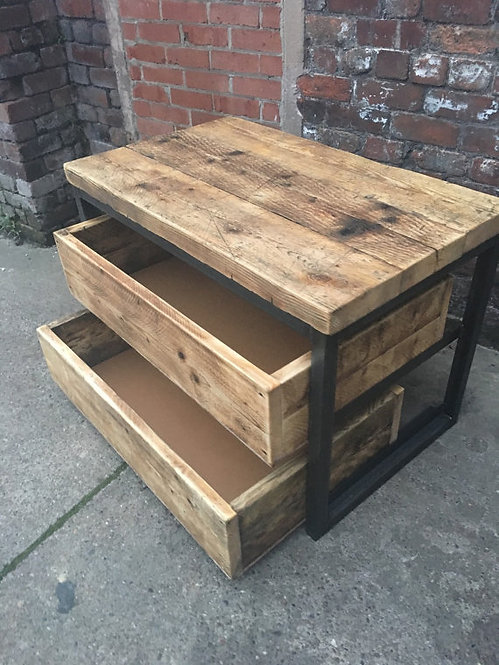 Reclaimed Industrial Chic Reclaimed Timber 2 Drawer Chest Island Unit 269