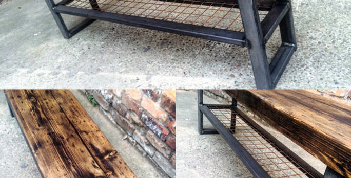 Industrial Chic Reclaimed Bench with Wire Shelf 448