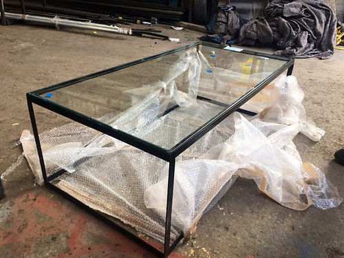 Industrial Chic Modern Glass Coffee Table 492