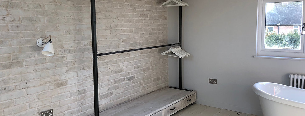 Reclaimed Industrial Chic Steel Clothes Hanging Rail with Drawers 600