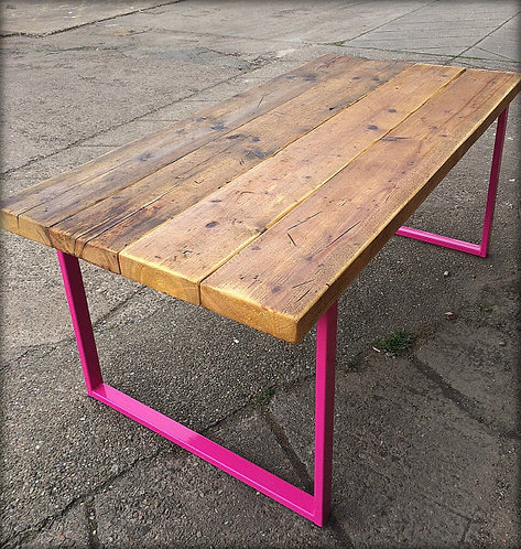 Reclaimed Industrial Chic 6-8 Seater Solid Wood Metal Dining Table Pink HCB 138