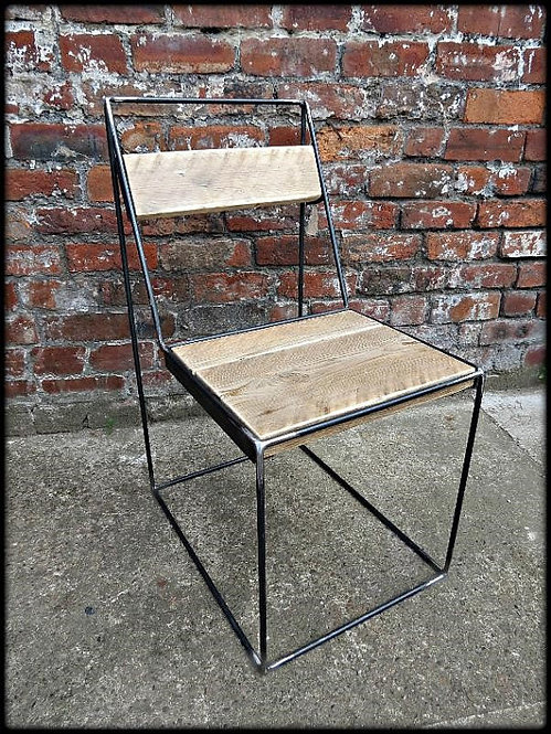 Reclaimed Industrial Chic Solid Wood & Metal Hairpin Ghost Chair 314