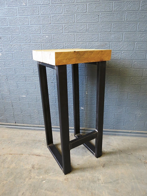 Reclaimed Industrial Chic Style Solid Wood & Metal Breakfast Bar Stool 431