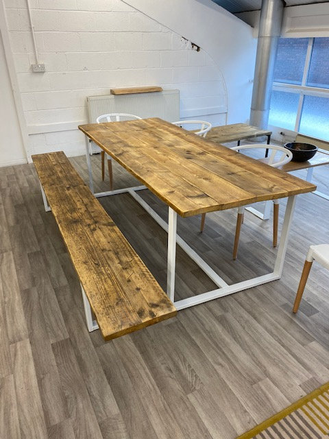 ***IN STOCK*** RECLAIMED TABLE AND BENCH IN OIL WITH WHITE FRAMES