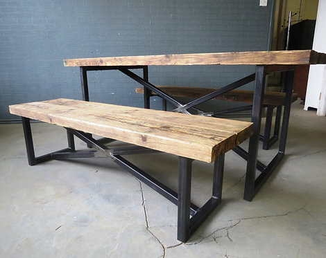 Reclaimed Industrial Chic X Style 6-8 Seater Wood Metal Table & Benches 177