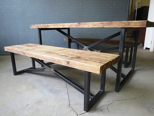 Reclaimed Industrial Chic X Style 6 8 Seater Wood Metal Table U0026 Benches 177
