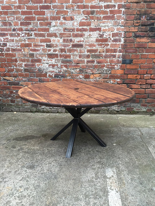 Industrial Chic Reclaimed Custom Round Cafe Dining Table Steel & Wood 042
