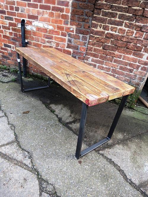 Reclaimed Industrial Chic Trapezium Wood & Metal Desk 299