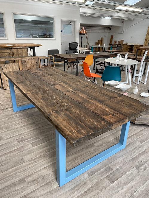 ***IN STOCK*** RECLAIMED TABLE IN DARK OAK WITH BLUE FRAME