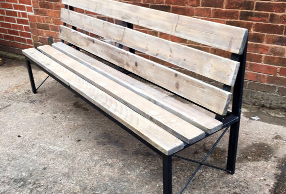 Industrial Chic Reclaimed Bench With Back 475