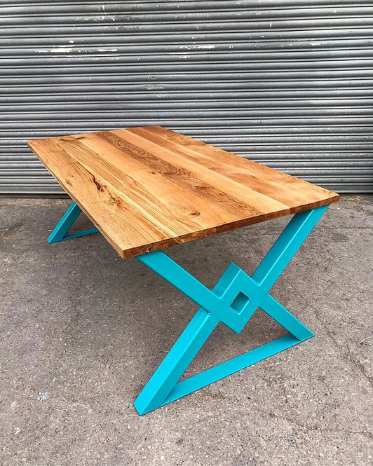Industrial Rustic Chic Full Stave Solid Oak 'VV' Table - 675