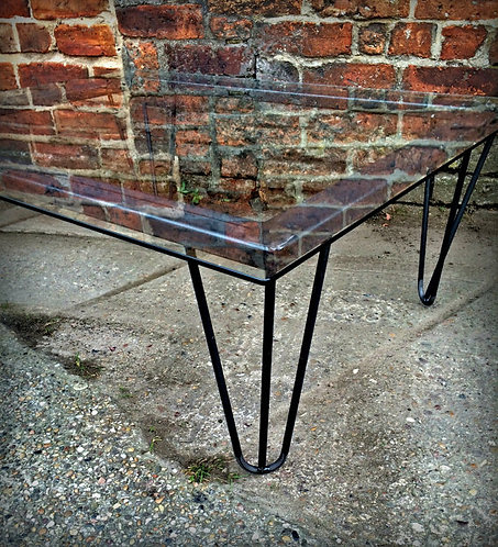Industrial Chic Hairpin Glass Coffee Table 209