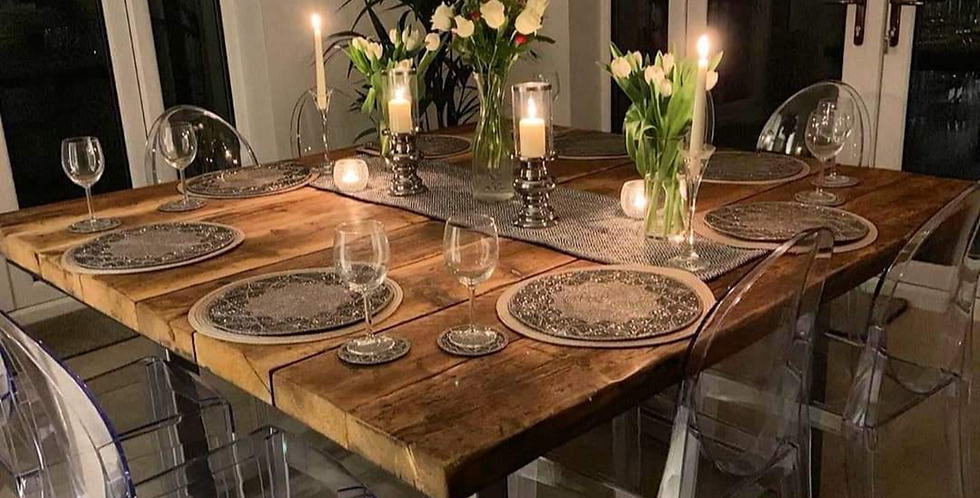 Reclaimed Industrial 10-12 Seater Solid Wood & Metal Dining Table HCB 644
