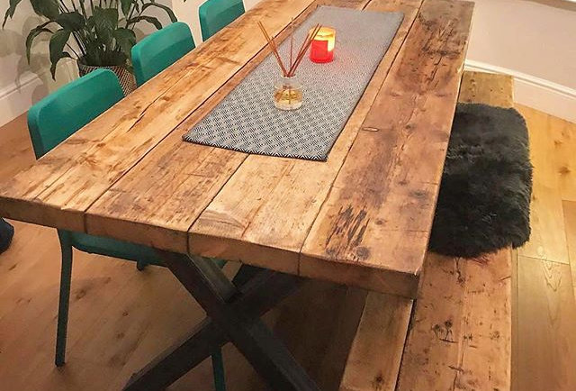 Reclaimed Industrial Chic XX 6-8 Seater Solid Wood & steel Dining Table-631