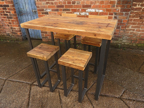 Reclaimed Industrial 4 Seater Chic Tall Poseur Table HCB Wood & Metal Desk 010