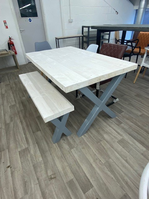 ***IN STOCK*** RECLAIMED DOUBLE X TABLE & BENCH IN WHITE WASH & GREY BASE
