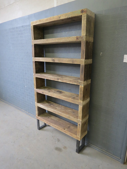 Industrial Chic Reclaimed Custom Steel & Wood Bookcase Shelving Unit 259