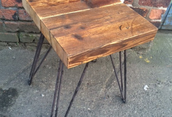Industrial Chic Style Reclaimed Custom Hairpin Bedside Side Table 246