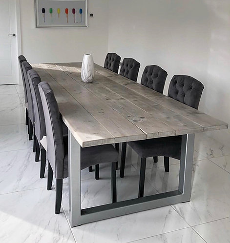 Reclaimed Industrial Chic 8-10 Seater Solid Wood & Steel Dining Table-630