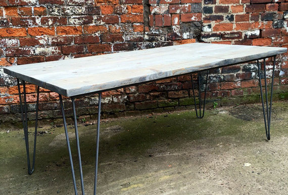Industrial Chic Reclaimed Wood Hairpin Leg 6-8 Seater Dining Table Grey 222