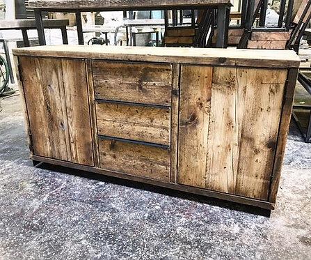 Reclaimed Industrial Chic Rustic 3-Drawer Sideboard Dresser Cupboard 568