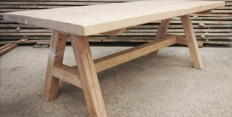 Reclaimed A-Frame Rustic Farmhouse 6-8 Seater Solid Wood Dining Table- 663