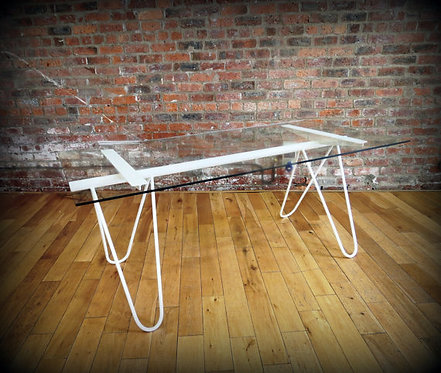 Modern Industrial Chic Glass Top Hairpin 'Mantes' Dining Table Steel White 349