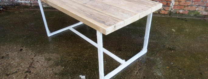 Reclaimed Industrial Chic 6-8 Seater Solid Wood Metal Dining Table White CB 264