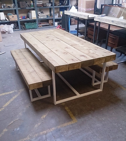 Industrial Custom Indoor Outdoor Sleeper Timber Top Dining Table CB White 322