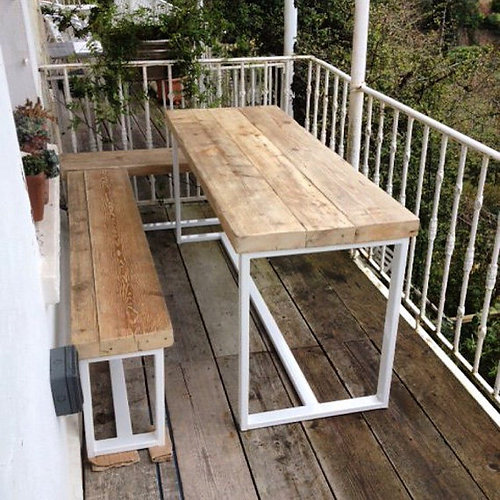 reclaimed industrial chic 6 8 seater garden table steel wood 341 - Garden Furniture 8 Seater