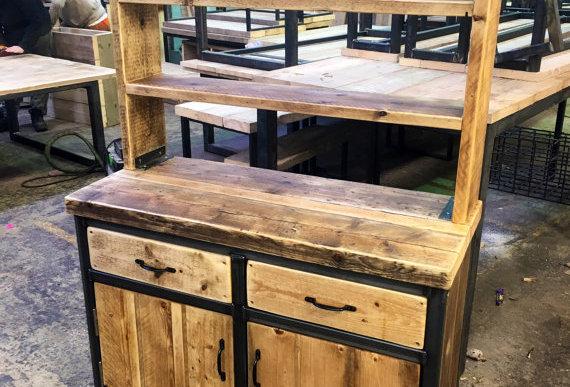 Reclaimed Industrial Chic Rustic Sideboard Dresser Cupboard 061