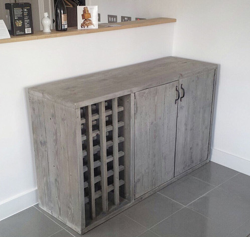 Reclaimed Industrial Chic Rustic Sideboard Dresser With Built In Wine Rack 595
