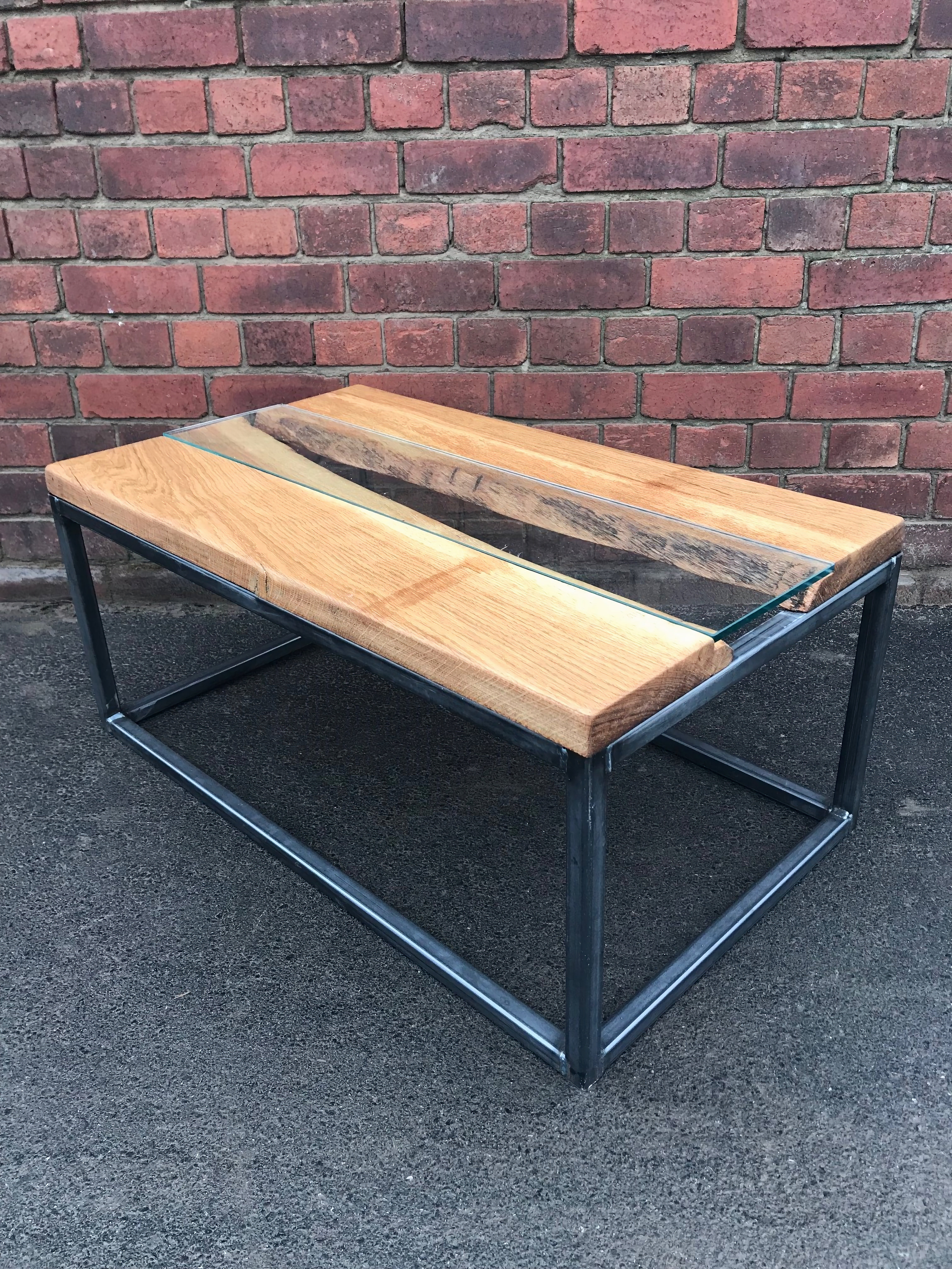 Industrial Oak Live Edge River Coffee Table With Glass Insert 635