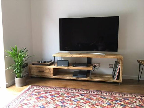 Industrial Chic Reclaimed Wood TV Stand Media Unit with Drawer 563