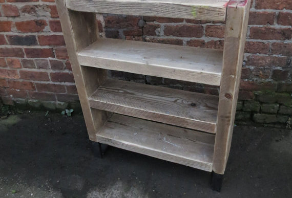Industrial Chic Reclaimed Steel & Wood Bookcase Shelving Unit 302