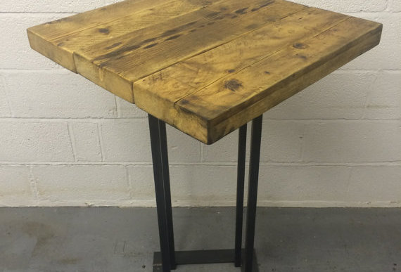 Industrial Chic Reclaimed Custom Made Square Tall Bar Poseur Table 107