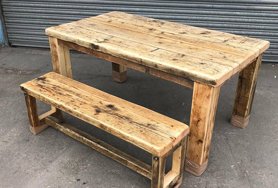 Reclaimed Rustic Industrial Farmhouse 6-8 Seater Solid Wood Table & Bench 558