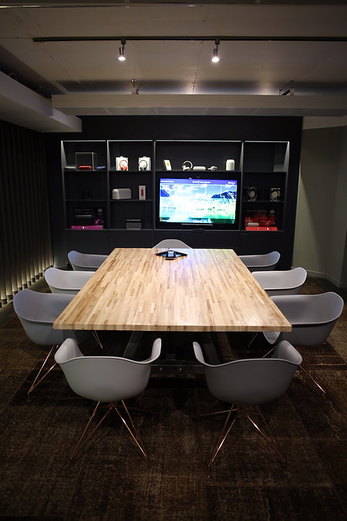 Modern Industrial Chic Solid Oak Block A-Frame Conference Dining Table 606
