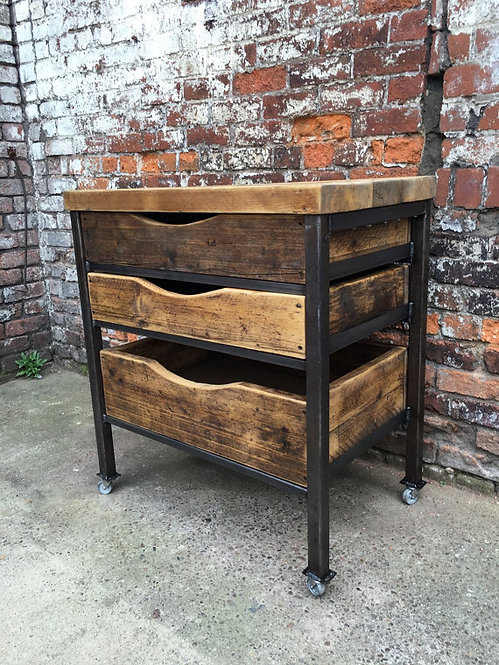 Reclaimed Industrial Chic Reclaimed Timber 3 Drawer Chest Island Unit 170