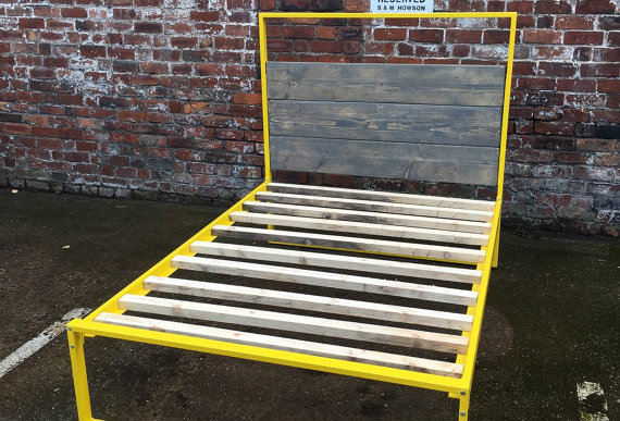 Reclaimed Industrial Chic Hand Made Bed Yellow 116