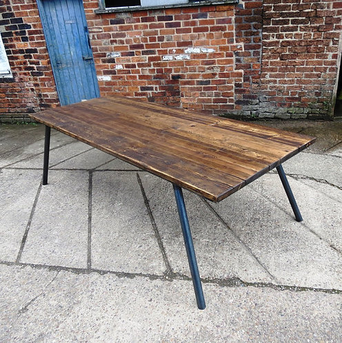 Reclaimed Industrial Chic 10-12 Seater Conference Office Table Steel & Wood 417