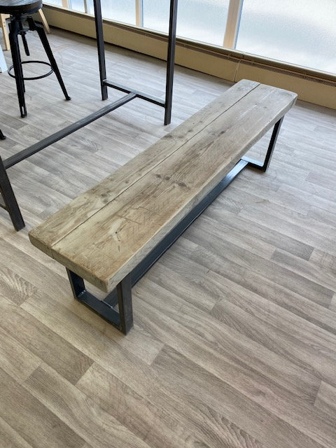 ***IN STOCK*** RECLAIMED BENCH IN GREYWASH WITH POWDER COATED FRAME
