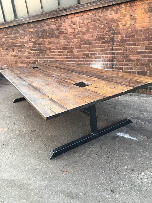 Reclaimed Industrial Chic Large Conference Office Table Steel & Wood 414