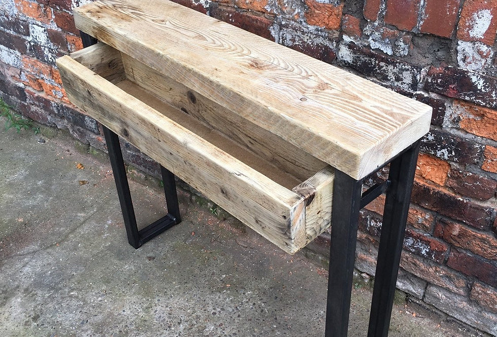 Industrial Chic Reclaimed Console table with drawer-469