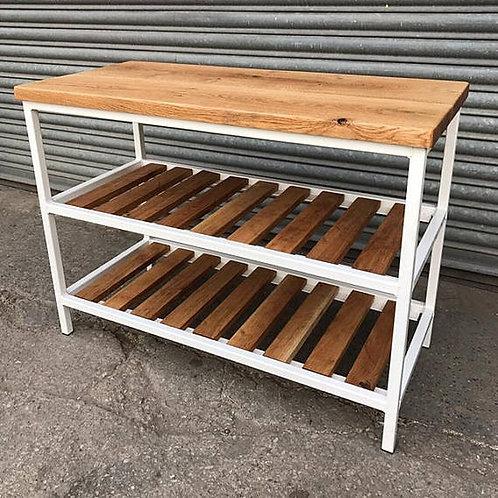 Industrial Solid Oak Bathroom Basin Washstand Sideboard Rustic Table 569