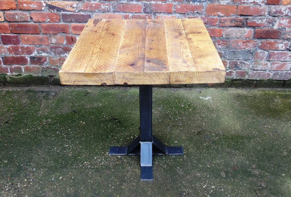 Industrial Chic Reclaimed 2-4 Seater Pedestal Table Steel & Wood Hand Made 234
