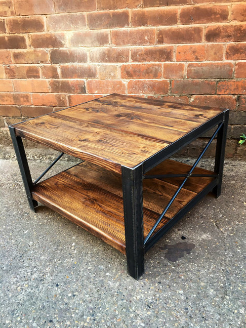 Industrial Chic Style Reclaimed Custom Coffee Table TV Unit Centre Shelf 295