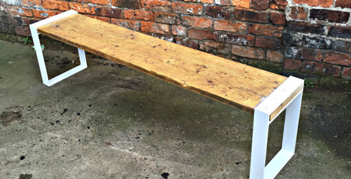 Industrial Chic Reclaimed Bench in White 458